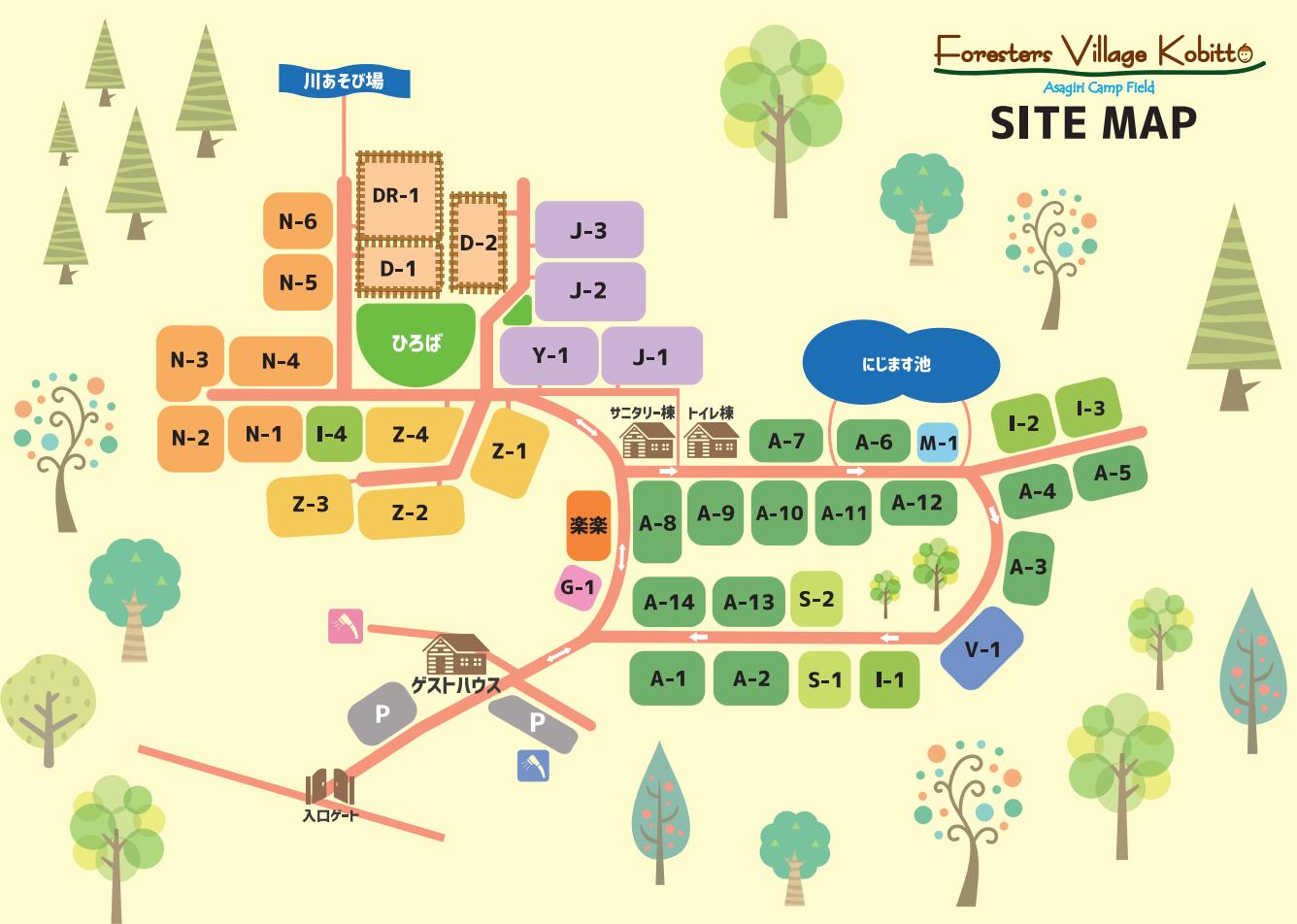 あさぎりキャンプフィールドサイトマップ