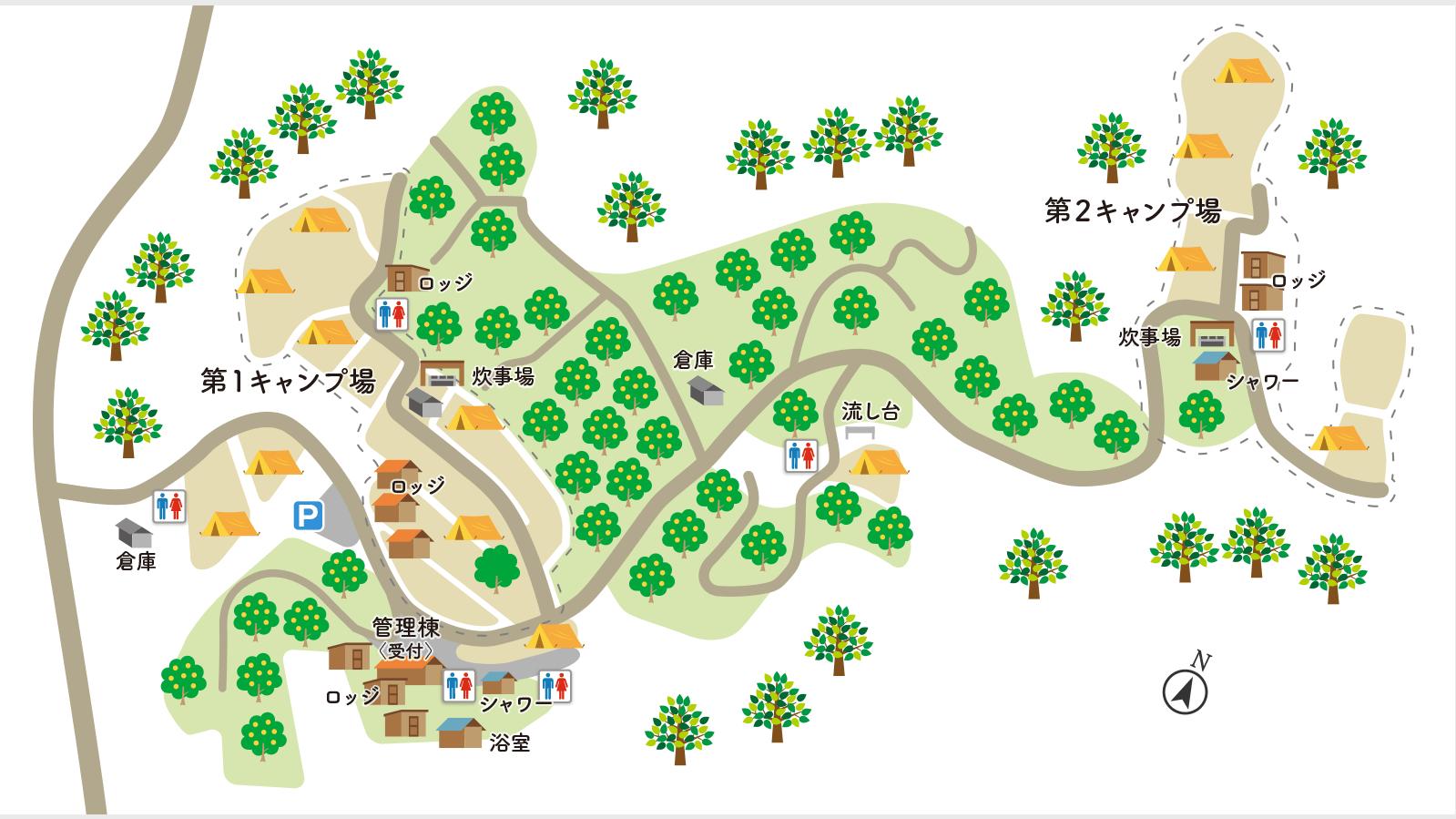 オレンジ村オートキャンプ場サイトマップ