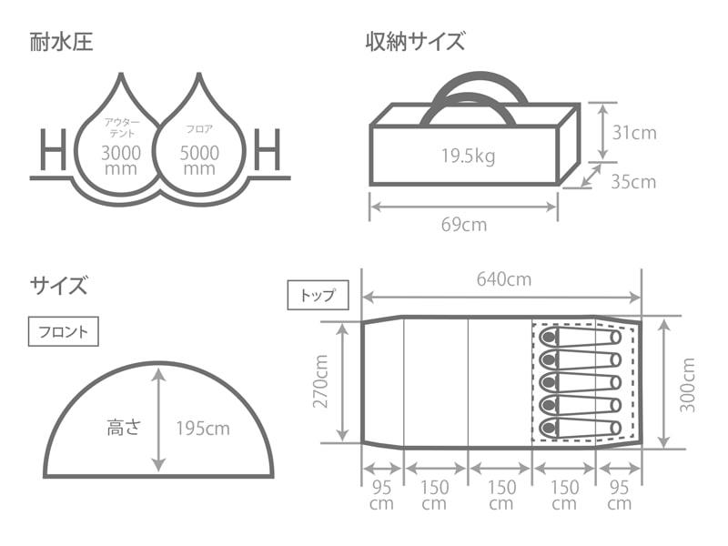 カマボコテント3サイズ