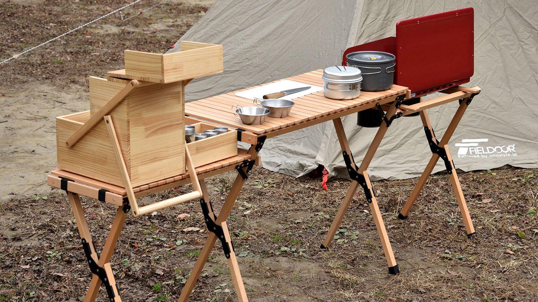 ウッドロールキッチンテーブルサイドテーブル付き