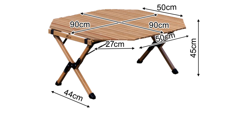 フィールドアウッドロールトップテーブル90 八角形型